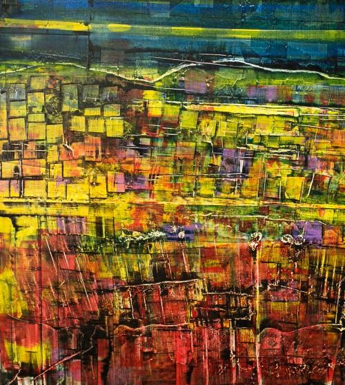 perrotin-peintures-Paysage en piqué-L80xH80